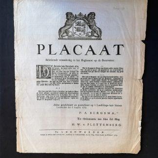 Placaat. 6 Augusty 1779. Lek of spintig Botervat...kuipers de vaten moeten schaaven....by poene van...